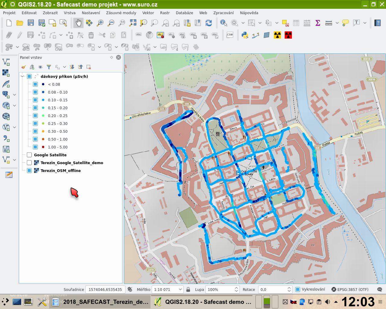 Safecast - zpracování dat v programu QGIS – Ramesis